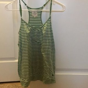 Green and white racer back tank top